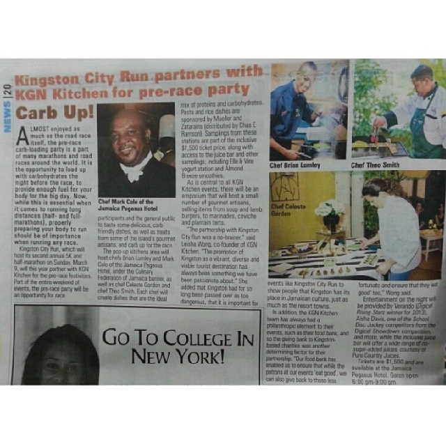 Read about the KGN Kitchen pre-race party on March 8th in today's @jamaicaobserver. Feature Chef Cole from @jamaicapegasus,  @cheflumley and Celeste Gordon #kgncityrun #kcr4homeless